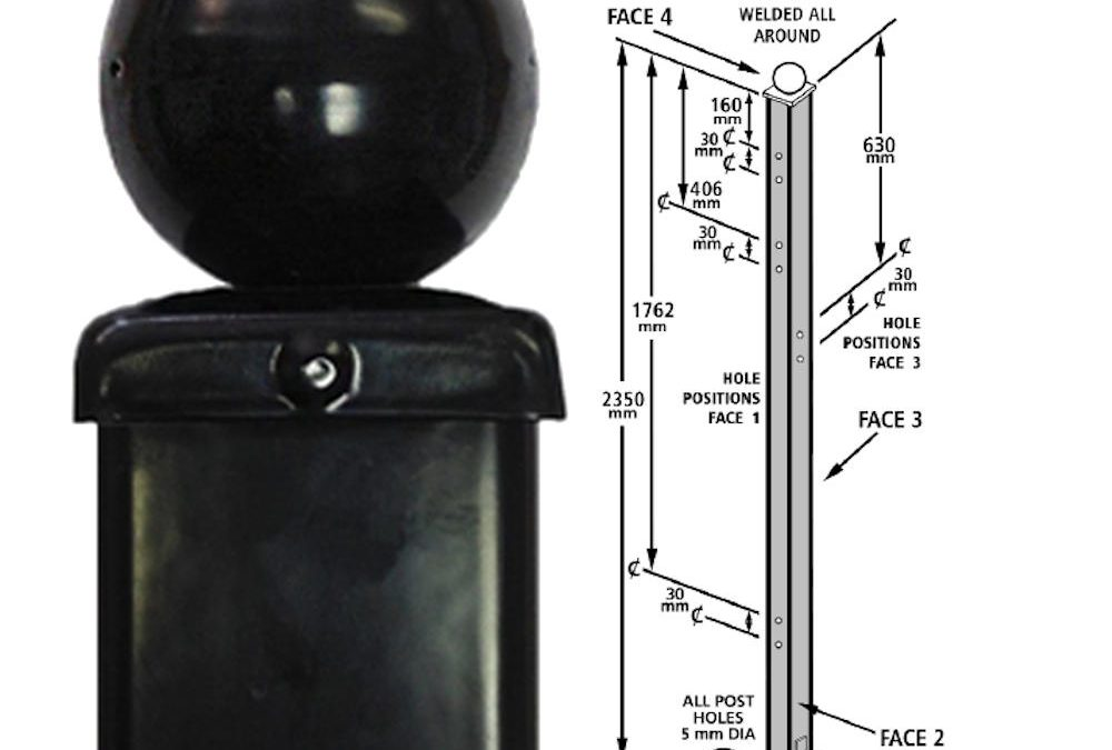 (UTBB) 50mm Sq x 2350mm Ball Top, Pre-Drilled, Concrete-In (CLEARANCE)