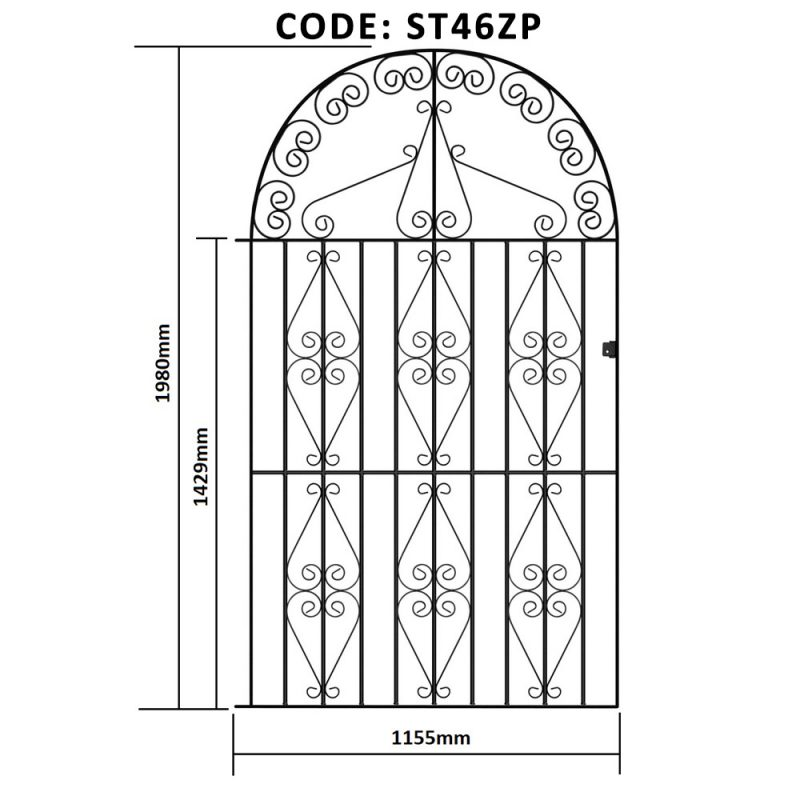 Stirling Metal Tall Single Scroll Gate