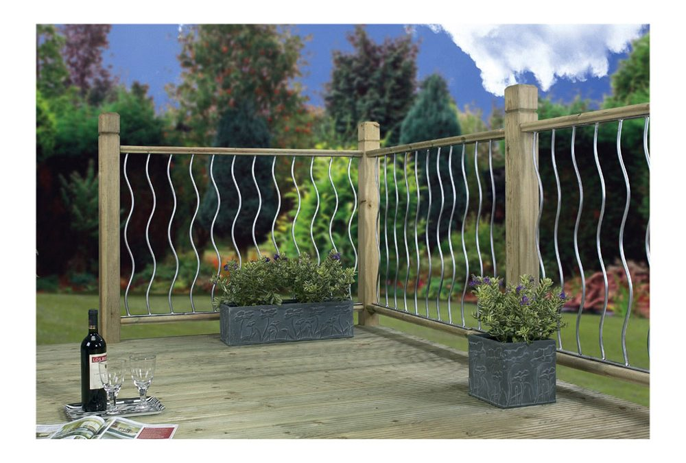 Swirl Metal Deck Decking Infill Fence Panel (RAL9006)